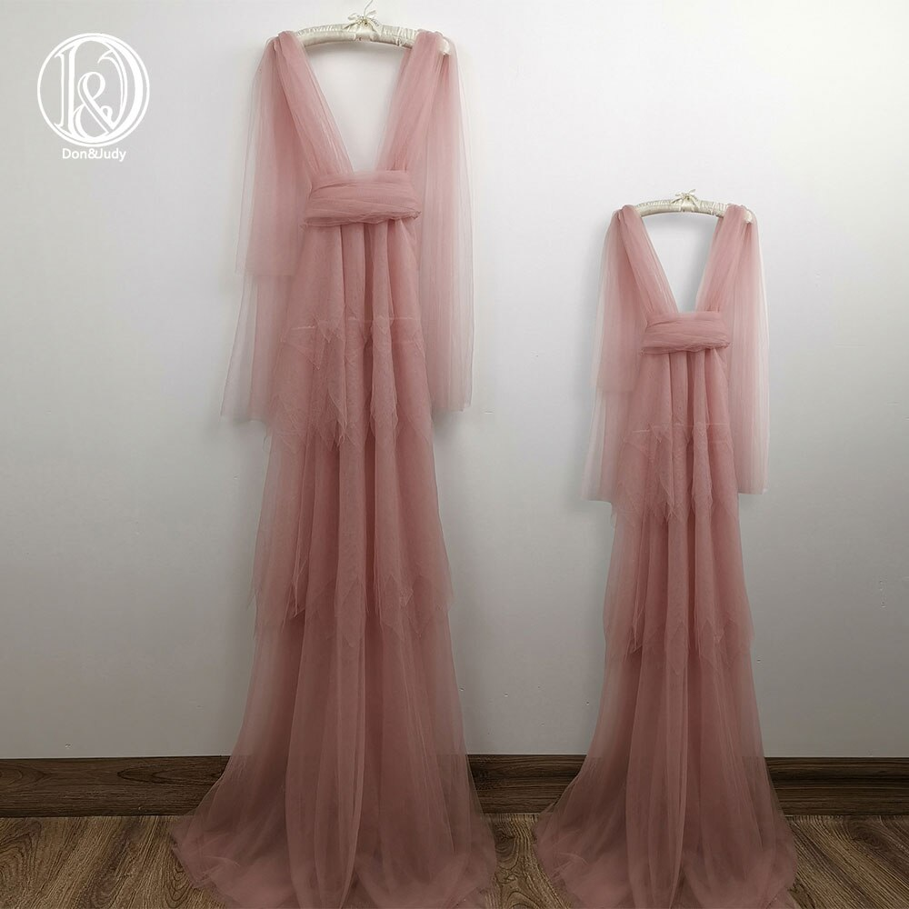 Don&Judy Tulle Mommy & Me Dress Set 4-8 Years Girl Dresses for Mother and Daughter Pregnant Photo Shoot Party Gowns 2021