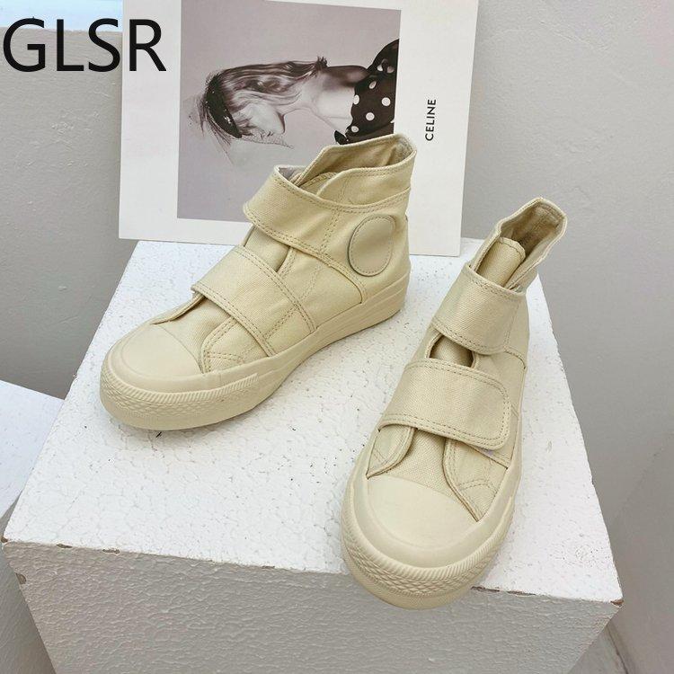 Spring Autumn New Student Canvas Shoes Korean Version Wild Casual Hook&Loop Flat Shoes Platform Snea
