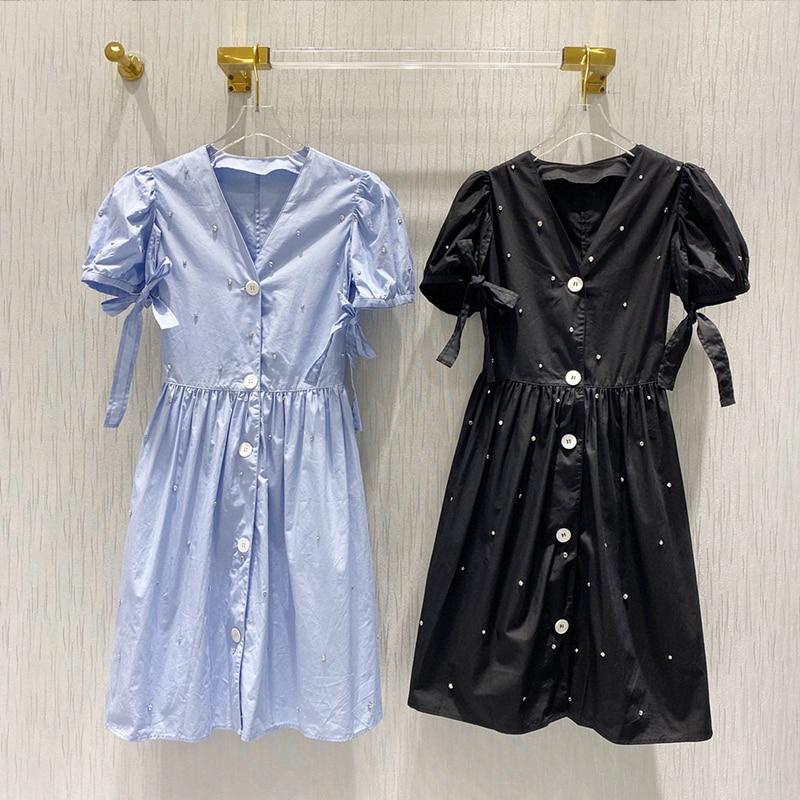 Vestido de manga corta con cuello de pico y manga de burbuja con decoración de diamante dulce elegante de verano de lujo de marca a la moda para mujer