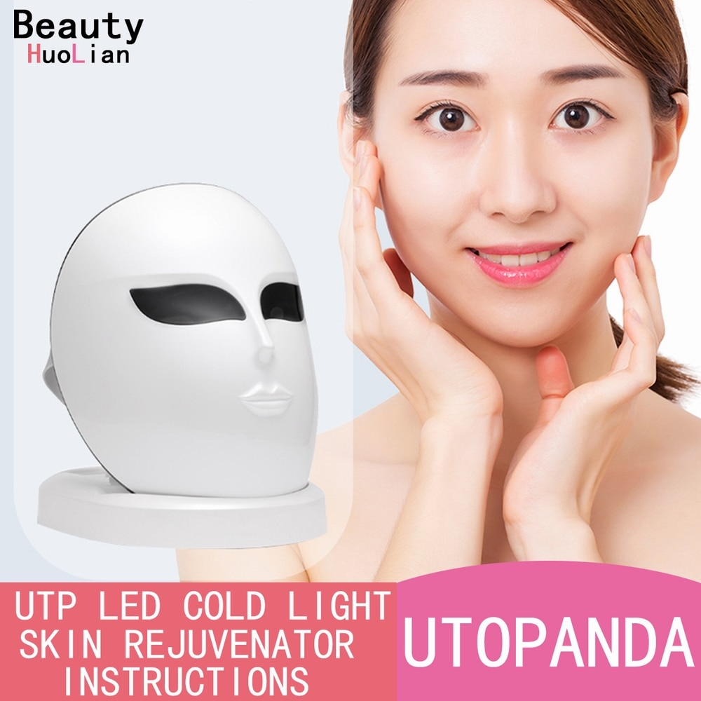 1200 LED Lights Rechargable 3 Colors Photon Therapy Face Mask Skin Rejuvenation Anti-Wrinkle Anti-Acne Wireless Facial Mask