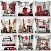 Silstar Tex Retro Nostalgische Dekoration Kissen Abdeckung Big Ben London Tower Bridge Sofa Kissenbezug Für Freunde Tv Show
