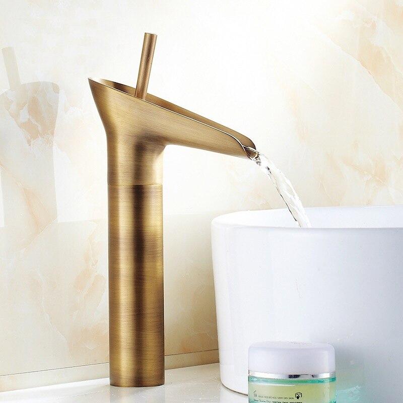 Liuyue bacia torneiras preto/bronze antigo tipo copo cachoeira banheiro lavagem-bacia deck montado misturador de água fria e quente pia torneiras