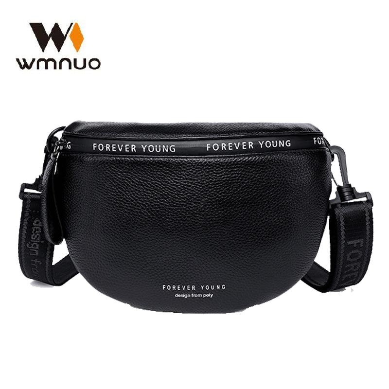 Wmnuo Genuine Leather Waist Bags Women Letter Half Moon Chest Bag Female Wide Shoulder Strap Soft Small Girls Bag Bolsa Sac