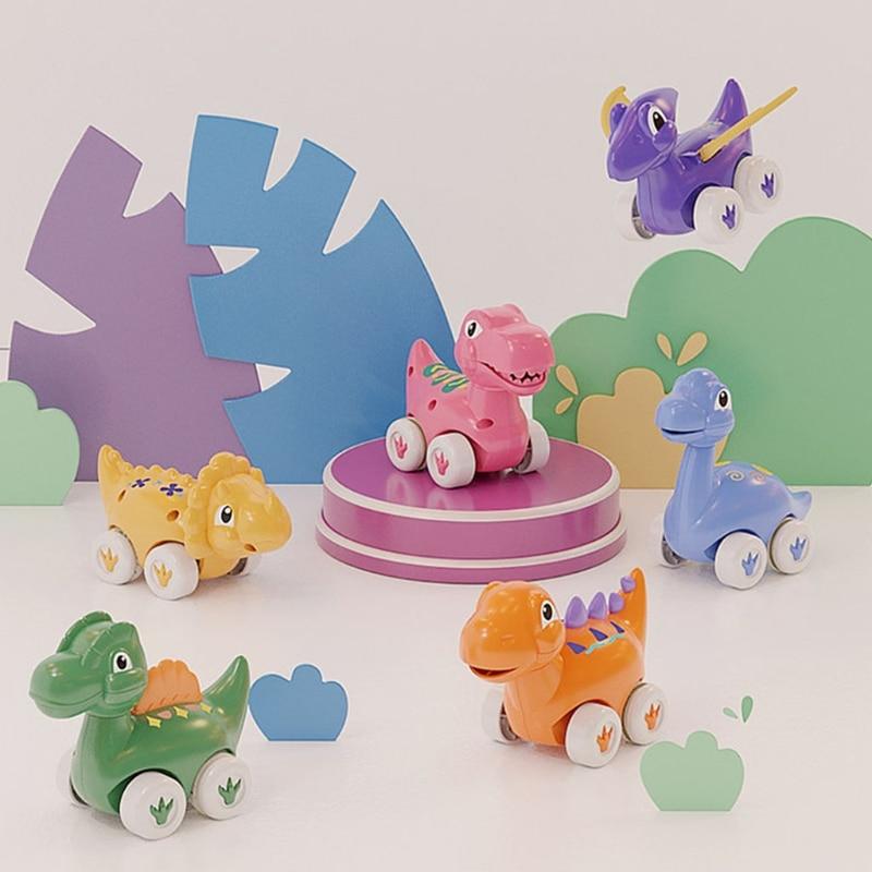 6 Pieces Baby Inertia Car Toy Animal Cartoon Mini Car Toy Vehicle Pull Back Dinosaur Toy Educational Toy Pullback Vehicle