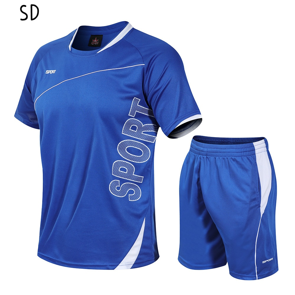Summer Tracksuit Men Sport Suit Men's Sets T Shirts+shorts Two Pieces Sets Casual Tracksuit O-Neck Solid Sportswear Sweatsuit