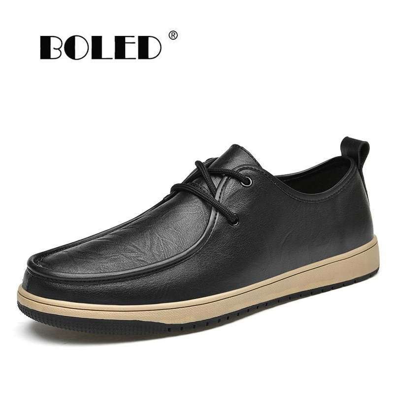 Natural Leather Men Casual Shoes Flats Lace Up Resistent Rubber Sneakers Quality Outdoor Walking Zapatos