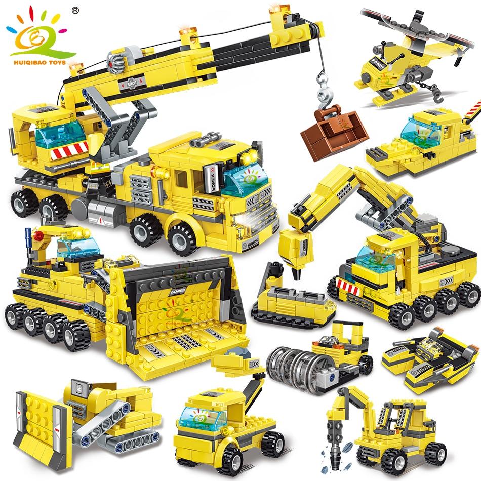 HUIQIBAO TOYS 693pcs 8in1 Engineering Truck Building Blocks City Construction Bricks Set Crane Bulldozer Car For Children Kids недорого