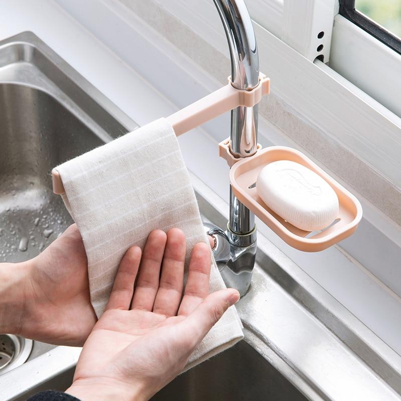 1 set Adjustable Kitchen Faucet Sponge Holder Sink Cloth Drain Rack Combination bathroom soap dish towel hanger home organizer