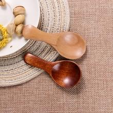 1Pcs Wood Condiment Scoop Flatware Coffee Tea Small Mini Sugar Spoon Salt Wood Spoons Cooking Tools Kitchen Gadgets Flatware