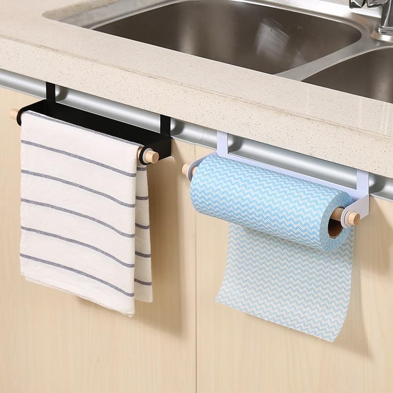 1pcs Multipurpose Iron Kitchen Cabinet Door Back Towel Rack Hanging Holder Bathroom Toilet Roll Paper Storage Shelves For Wall