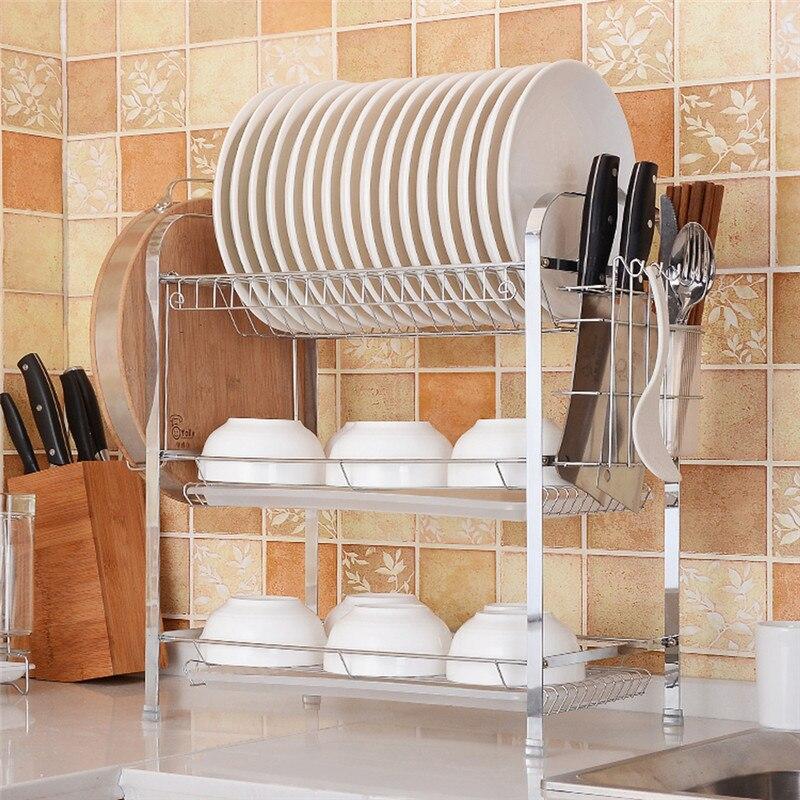 3 capas de cuencos estante de drenaje estante de cocina platos palillos almacenamiento multifunción estante de almacenamiento organizador de herramientas de cocina