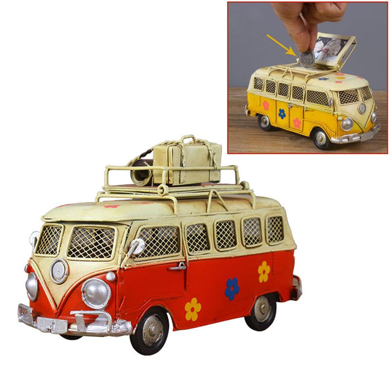Creative Iron Piggy Bank Vintage Bus Shape Coin Box Nostalgic Childhood Memory Metal Art Gift Home Decor for Kids Children