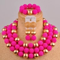 pretty fuchsia pink costume necklace african jewelry set fzz82 02