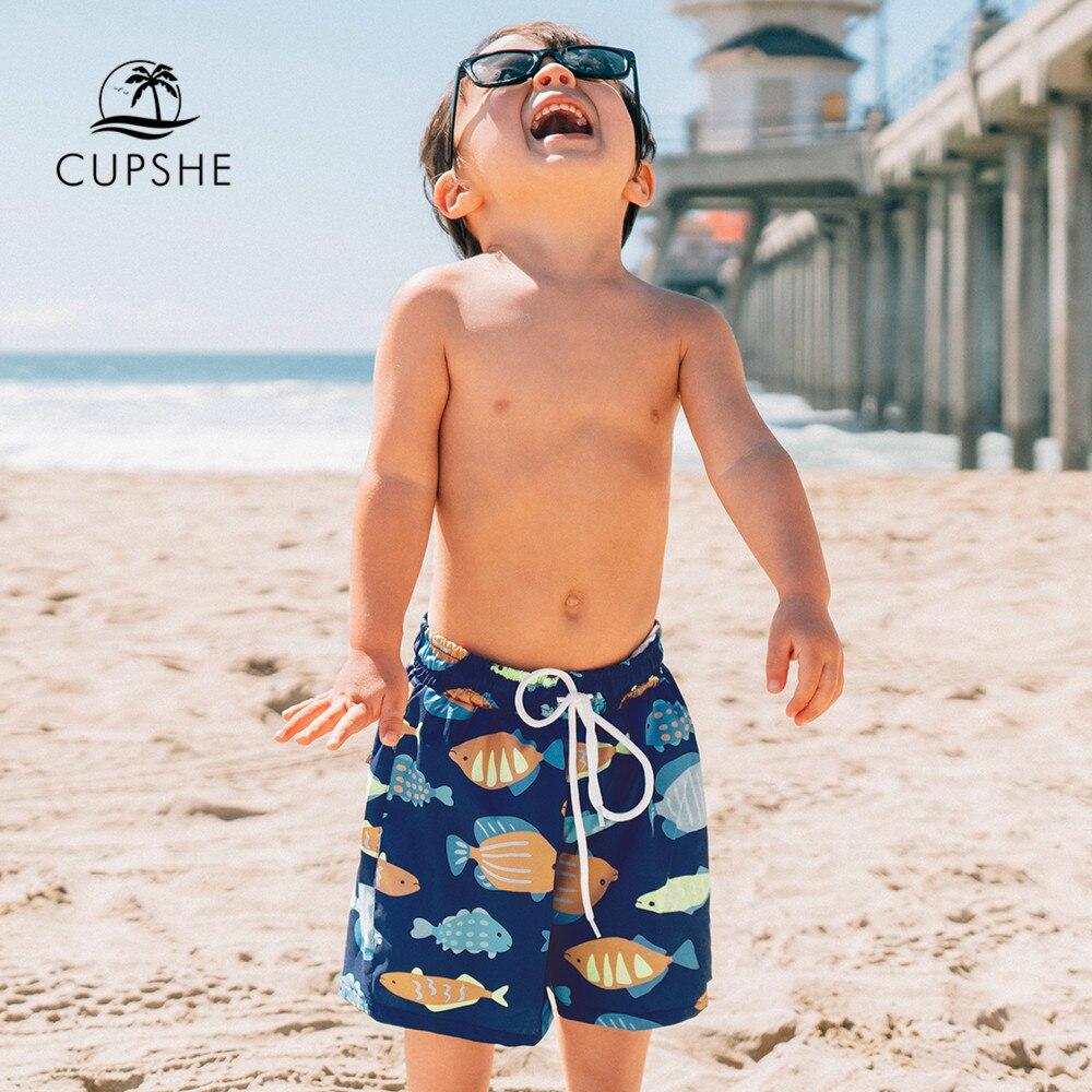 CUPSHE Navy Fish Print Boys Swim Trunks Swimsuit For Toddler Boys 2021 Summer Beach Children Kids Bo