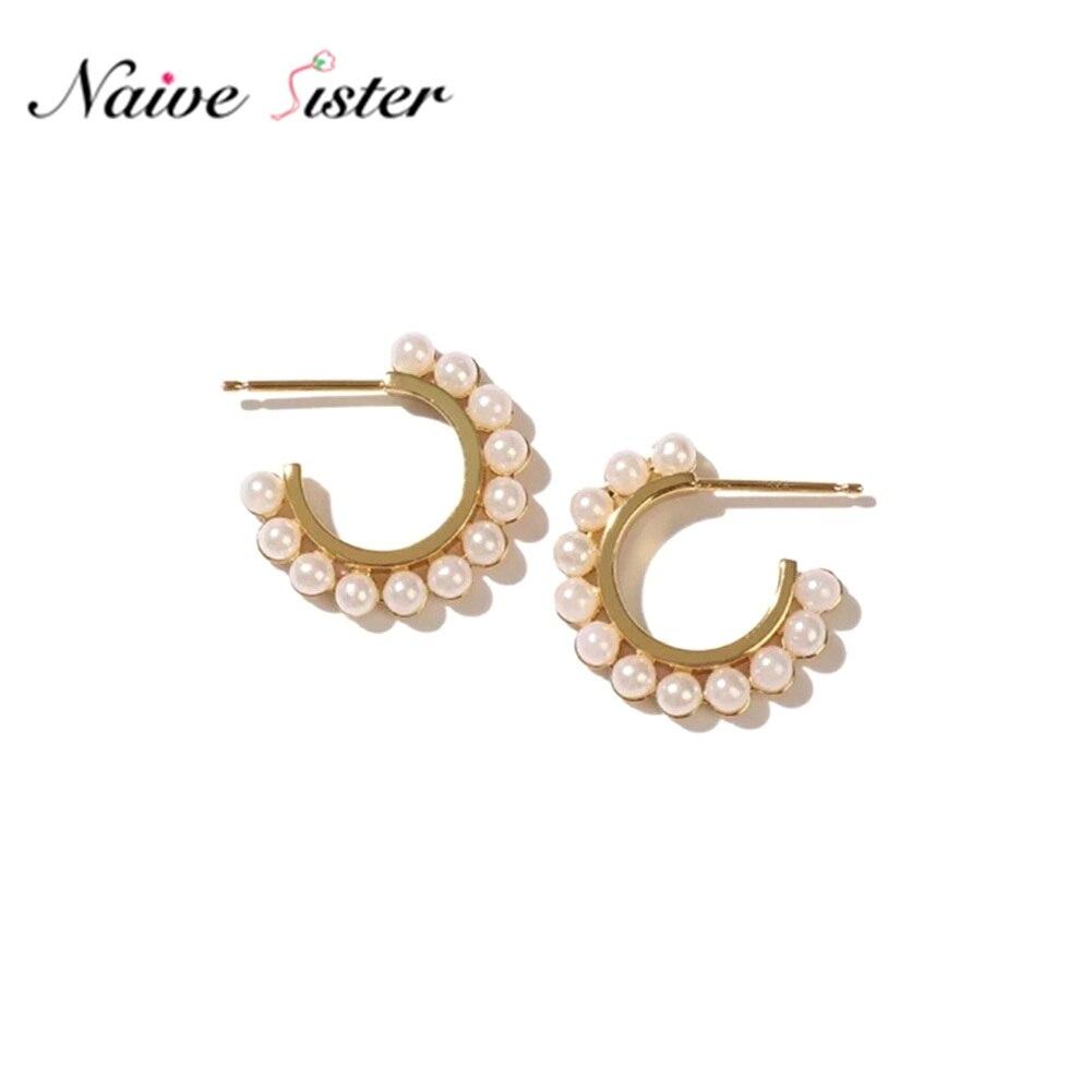 Cute Open Hoop Earrings for Women Teen Girls Small Pearl Earings Party Wedding Costume Jewelry Female C Shape Studs Fashion