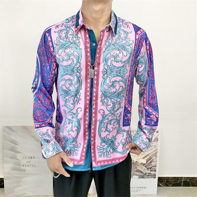 Новые осенние мужские классические рубашки, хипстерские причудливые рубашки с длинным рукавом, мужские роскошные дизайнерские рубашки с б...