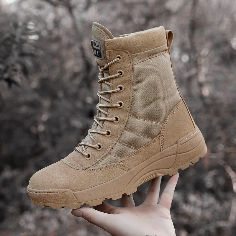 Fashion Men Boots Winter Outdoor Leather Military Boots Men Breathable Army Combat Boots Plus Size Desert Boots Men Hiking Shoes junjarm autumn winter men canvas boots army combat style men ankle boots fashion high top military men s shoes comfort sneakers
