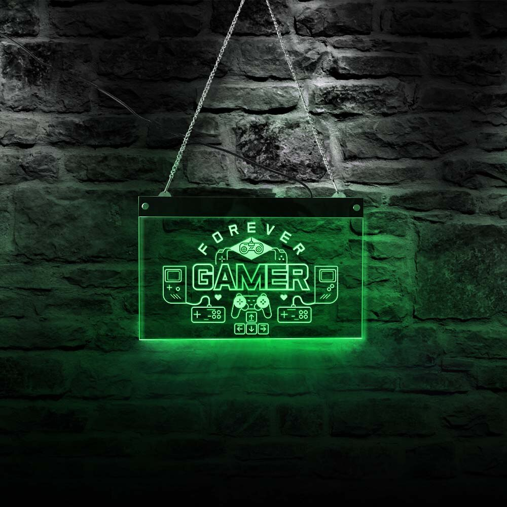 Forever Gamers-لوحة ألعاب نيون ، لوحة تحكم بإضاءة ملونة RGB ، مع جهاز تحكم عن بعد