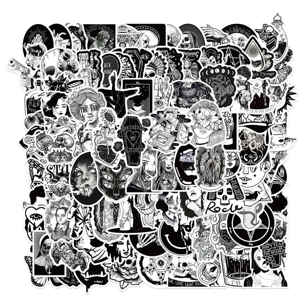 10/30/50 шт./черно-белый Граффити Ноутбук гитара мотоцикл багаж скейтборд велосипед водонепроницаемые наклейки оптовая продажа