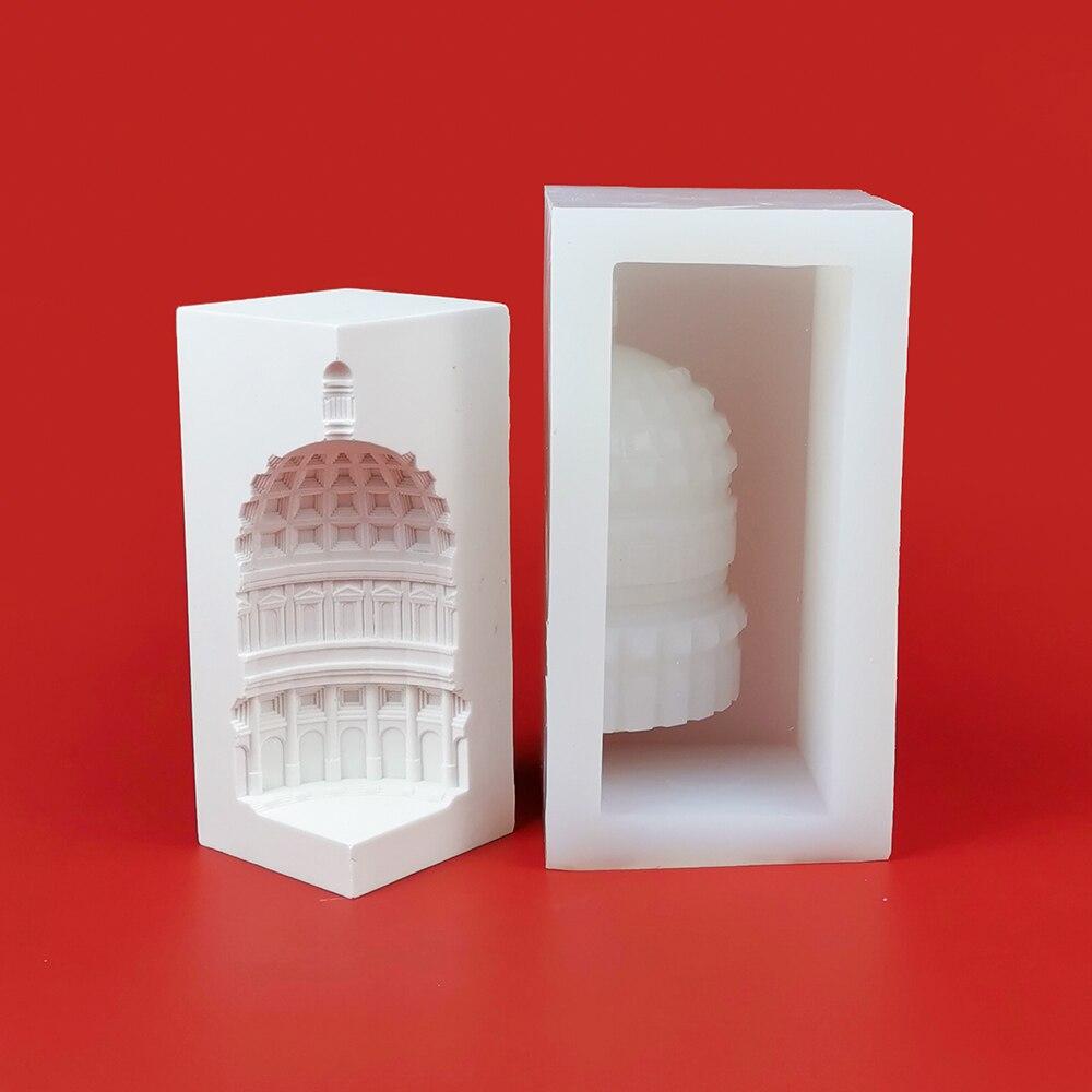ثلاثية الأبعاد التصميم المعماري الأوروبي شكل قالب من السيليكون للشمعة الفنية الجص ملموسة الحرفية ديكور المنزل قوالب أداة