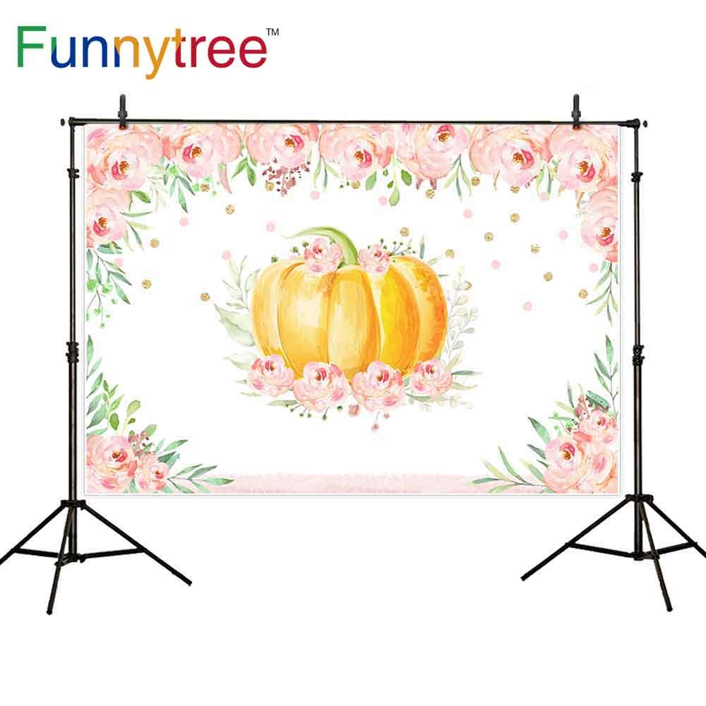 Funnytree photocall pano de fundo chá de fraldas abóbora rosa menina aniversário flor dot fotografia fundo shoot prop photophone