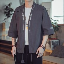 Kimono samouraï broderie japonais Costume hommes Harajuku Style chemise japon Haori Cardigan chinois traditionnel imprimé Yukata manteau