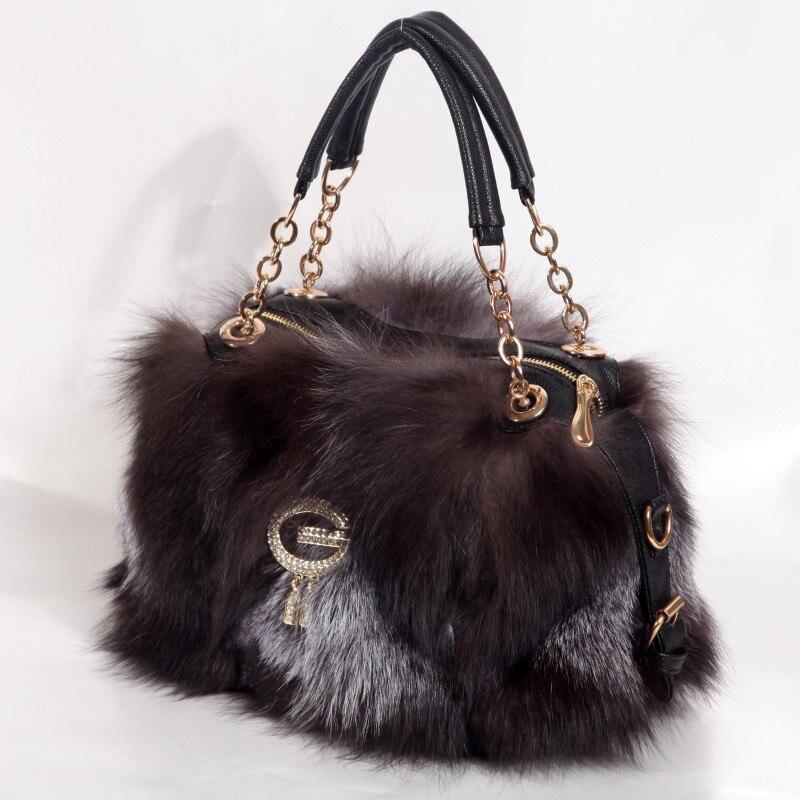 2021 Brand Designer Fashion Handbag Women's High Quality Fox Fur Shopping Clutch Party Tote Bag Luxury