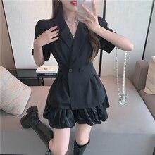 2PCS Sets For Women Blazer Coat Skirts Summer 2021 New Fashion OL Elegant Short Sleeve Slim Coat Sui