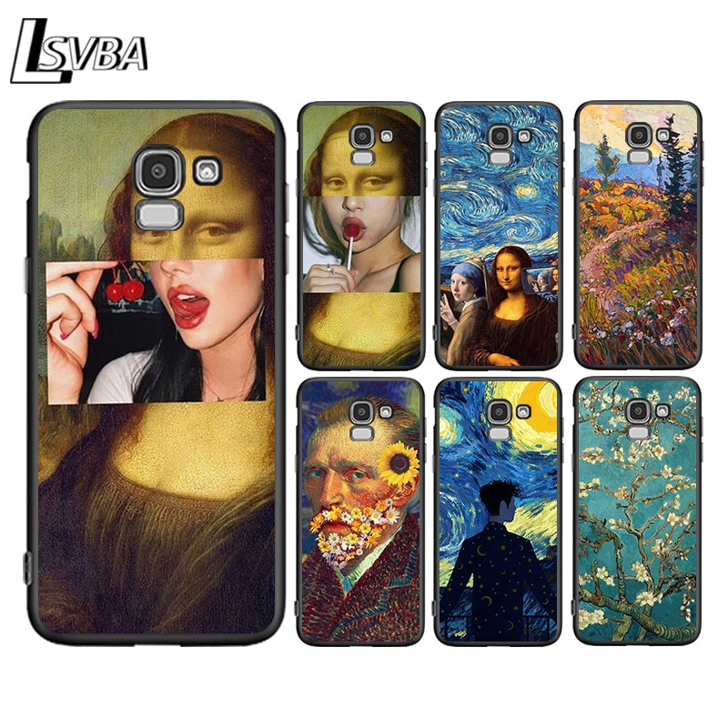 Lindo Mona Lisa Van Gogh para Samsung Galaxy J2 J3 J4 Core J5 J6 J7 J8 primer Duo Plus 2018, 2017 de 2016 negro teléfono caso