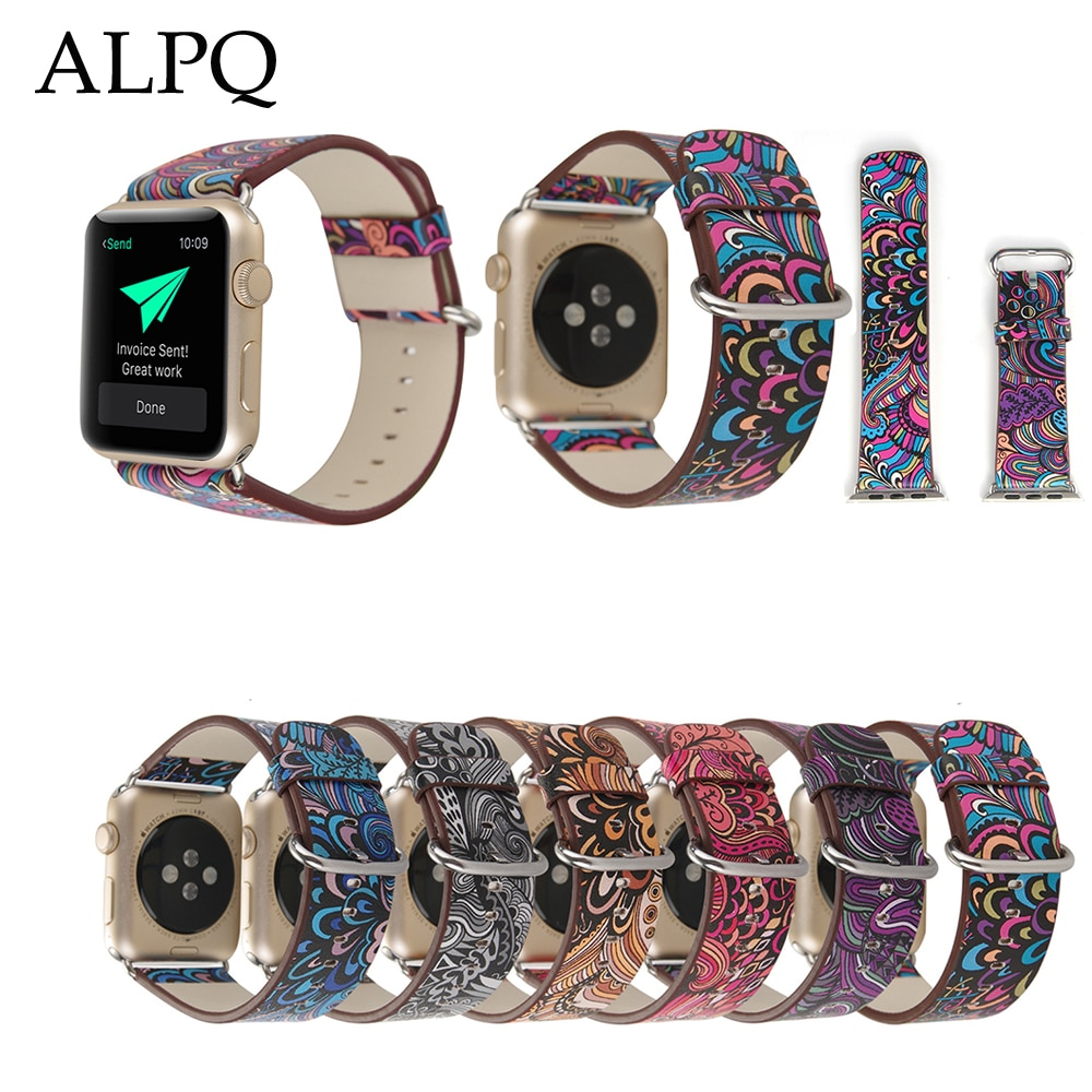 ALPQ para Apple Watch 5 4 Correa 38mm 42mm 40mm 44mm lujo Retro estilo nacional impreso PU correa para iWatch Serie 3 2 1