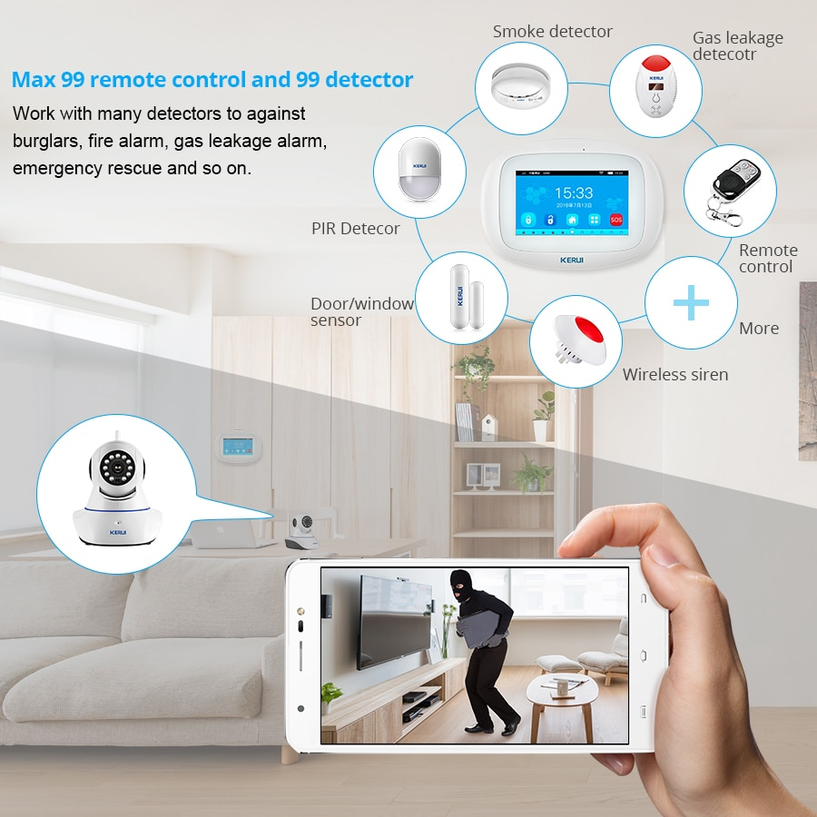 KERUI K52 Smart Home Alarm System Touch Screen Color Display GSM Wifi App Control Security Family Motion Sensor Wireless Siren enlarge