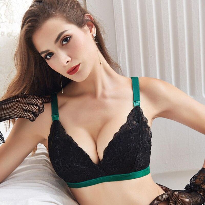 Sutiã de enfermagem grande tamanho sem fio rendas sexy maternidade push up bra plus size amamentação mama amamentação gravidez lingerie