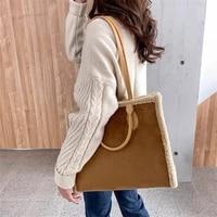womens big capacity handbags retro pu lambswool tote bag fashion plush shoulder bags ladies designer winter top handle bags