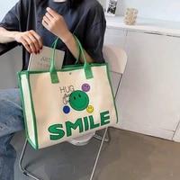 casual canvas women handbag girls large capacity bag printing smile shopping tote bag fashion simple shoulder bag environmental