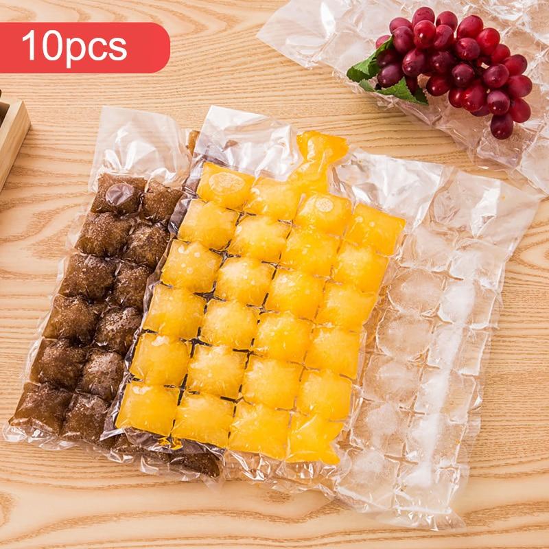 10 шт./упак. одноразовые мешки для льда, самозапечатывающаяся лоток с формой для кубиков льда, домашние кухонные приспособления, летние прина...