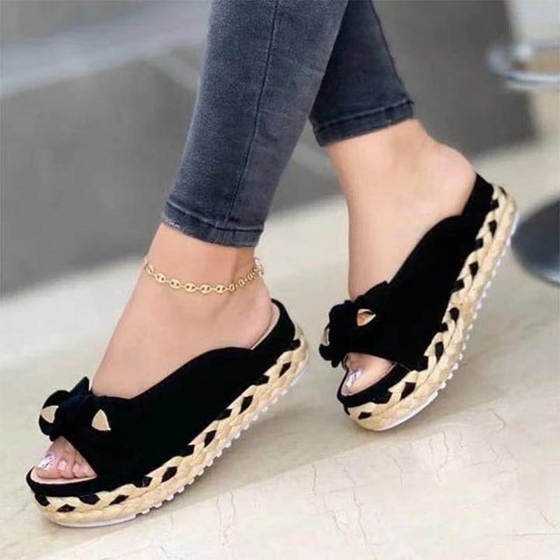 2021 Summer Casual Flat Women Sandals Bowknot Fashion Solid Colors Slip-On PU Leather Peep Toe Platf