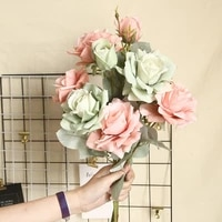 beautiful rose artificial silk flowers large retro home decor fake white faux rose artificial flowers vintage wedding decoration