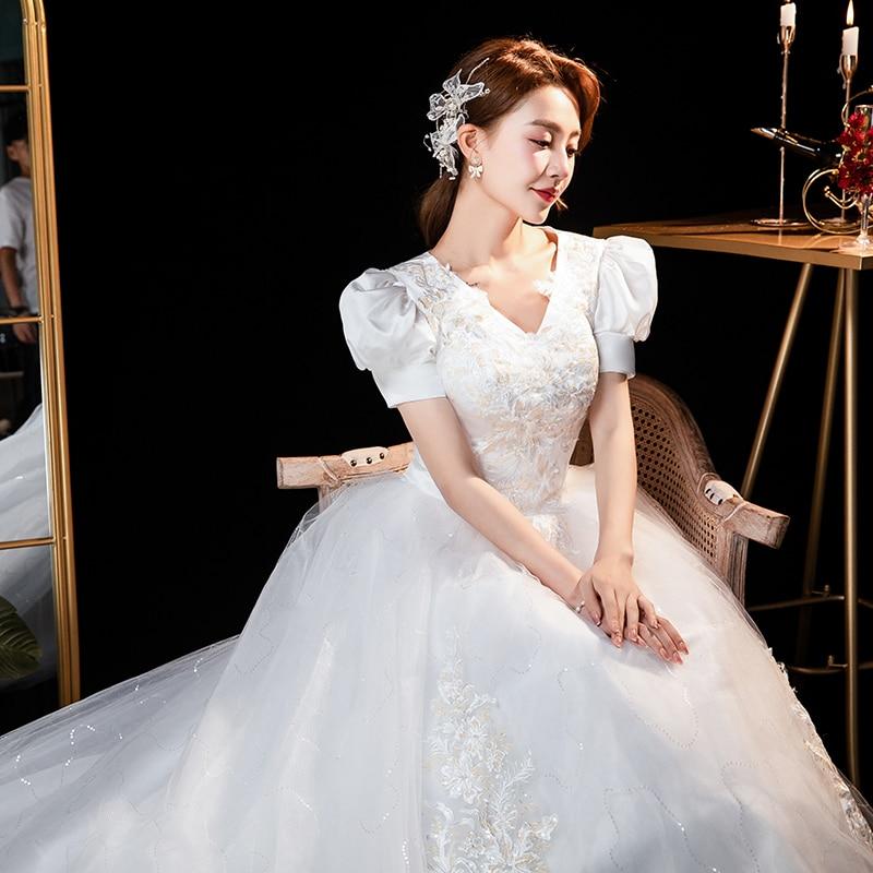 Ladybeauty-فستان زفاف أبيض بأكمام قصيرة ، فستان زفاف أبيض مع زينة دانتيل عتيق