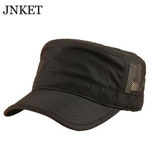 JNKET Summer Quick-drying Flat Cap Men Army Cap Breathable Mesh Hat Outdoor Sports Cap Sunhat Adjustable Hat Casquette