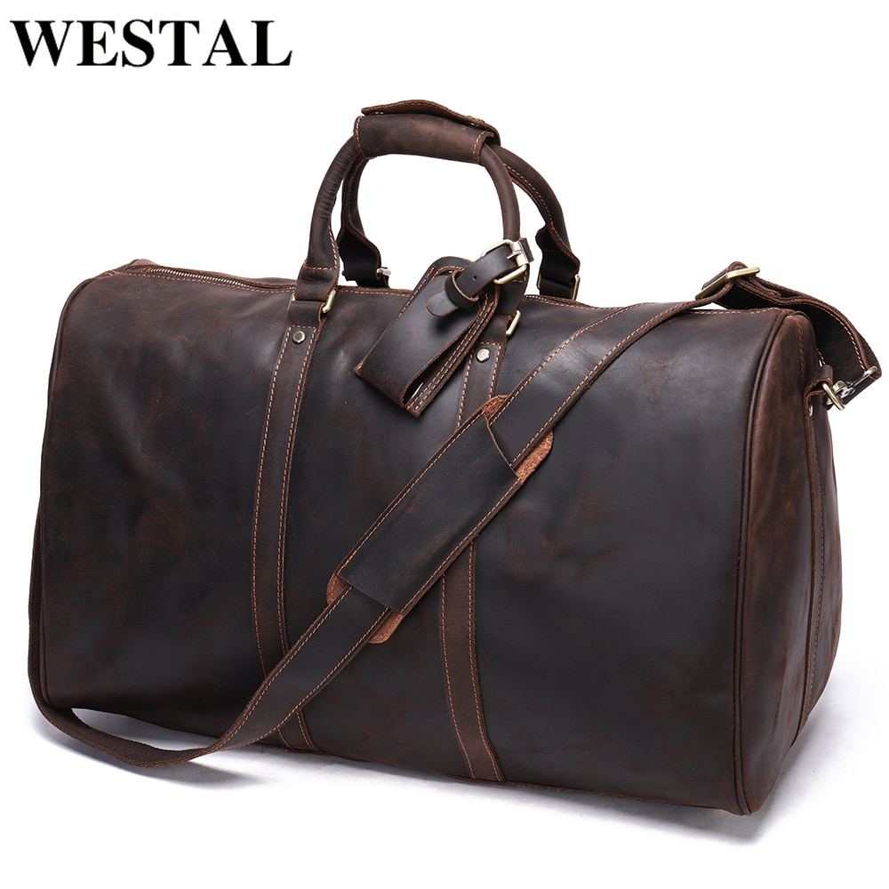 WESTAL Man's Outdoor Genuine Leather Duffle Bag For Luggage Big Weekend Travel Bags Fashion Duffle Bag For Man Hand Luggage