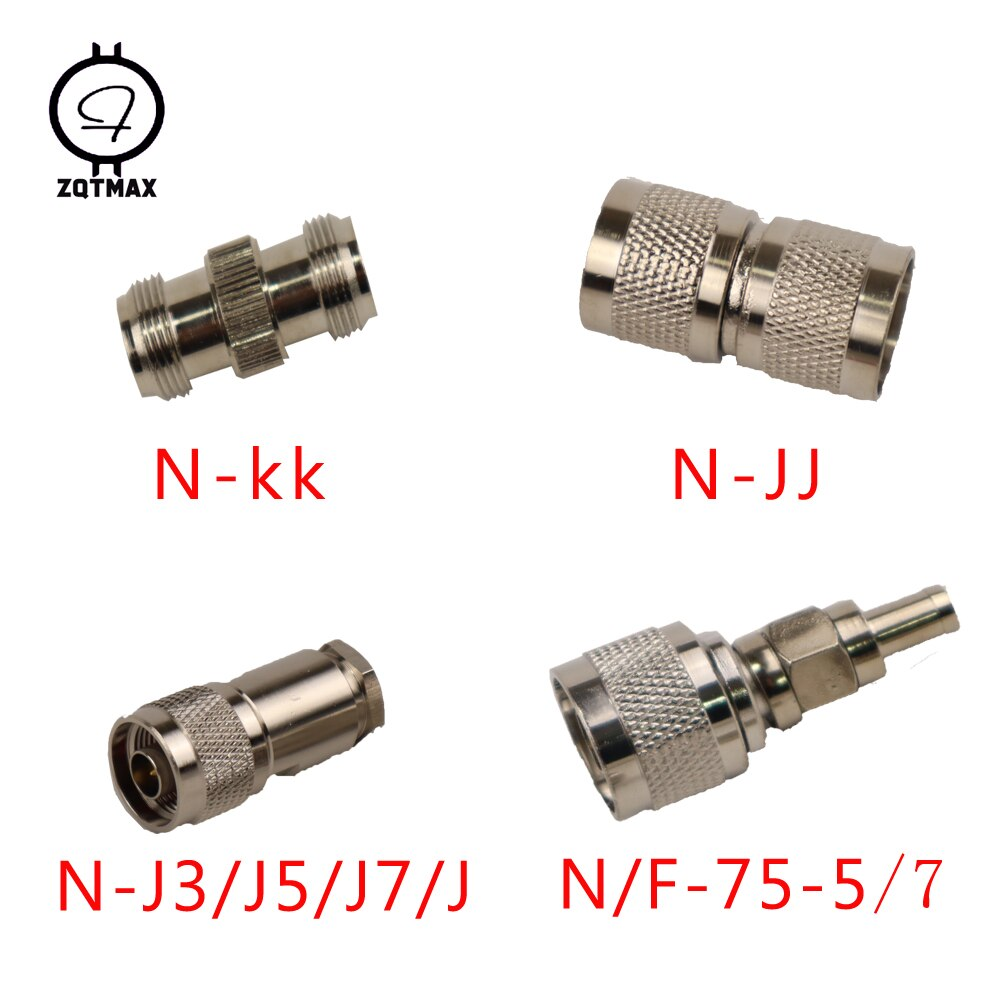 ZQTMAX 10PCS Variety models N-KK N-JJ N-J5/J7 N-75-5/7 N-Type Male Female Connector Coaxial Connectors Convert Adapter