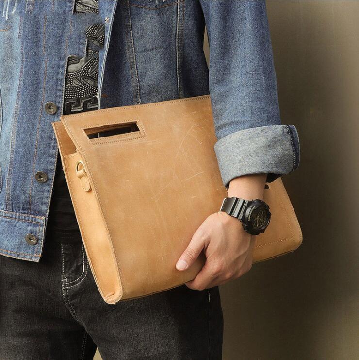 MAHEU-حقيبة أوراق جلدية أصلية ، حقيبة أوراق ، جلد كريزي هورس A4 ، حقيبة ملف ، أعمال رسمية