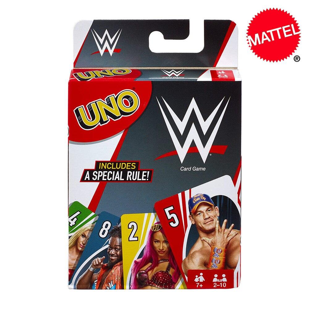 Juego de cartas Mattel UNO WWE, entretenimiento divertido familiar, juego de mesa, póquer, juguetes para niños, cartas de juego