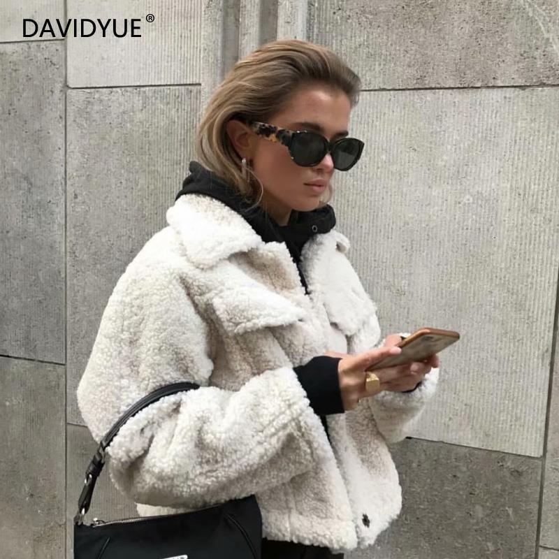 Chaqueta de invierno, abrigo blanco de piel sintética para mujer, abrigo de oso de peluche para otoño 2019, chaqueta de cordero cálido estilo vintage, ropa de calle, chaqueta acolchada harajuku