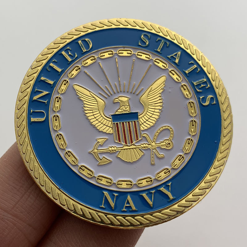 U.S. Navy Sailing Commemorative Coin Gold-plated Badge Medal Collector Coin Craft Gold Coin Coin with Storage Box недорого