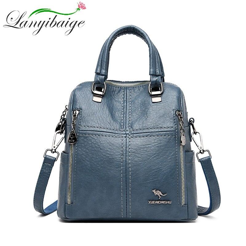 LANYIBAIGE-حقيبة ظهر جلدية متعددة الوظائف للنساء ، حقيبة كروس ، حقيبة مدرسية ، سفر