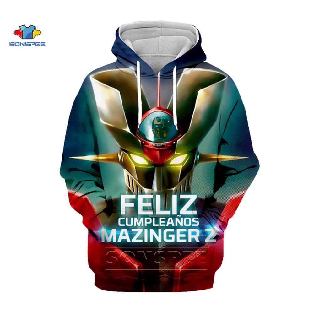 SONSPEE Japan Anime Mazinger Z Hoodie Brand Gym Clothing Hip Hop Harajuku Mens Hoodies 3d Print Autumn Winter Streetwear Jacket