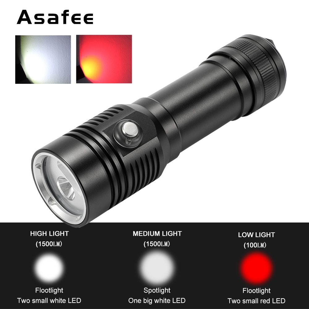 Powerful Underwater Diving Video Fill Photography Light Lamp XM-L2 XPE Led White Red Dive Torch Waterproof Diving Flashlight waterproof 14led portable diving light torch underwater led photography video dive flashlight lamp