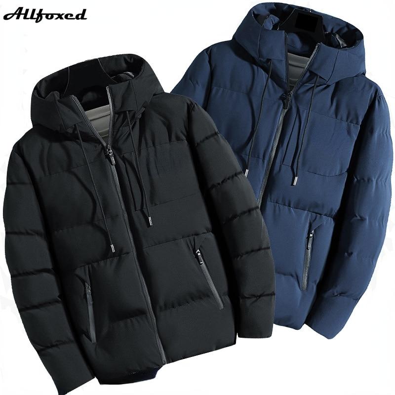 Мужская брендовая водонепроницаемая куртка Allfoxed, зимние теплые мужские парки, новинка 2021, Осенние толстые парки с капюшоном, модная повседн...