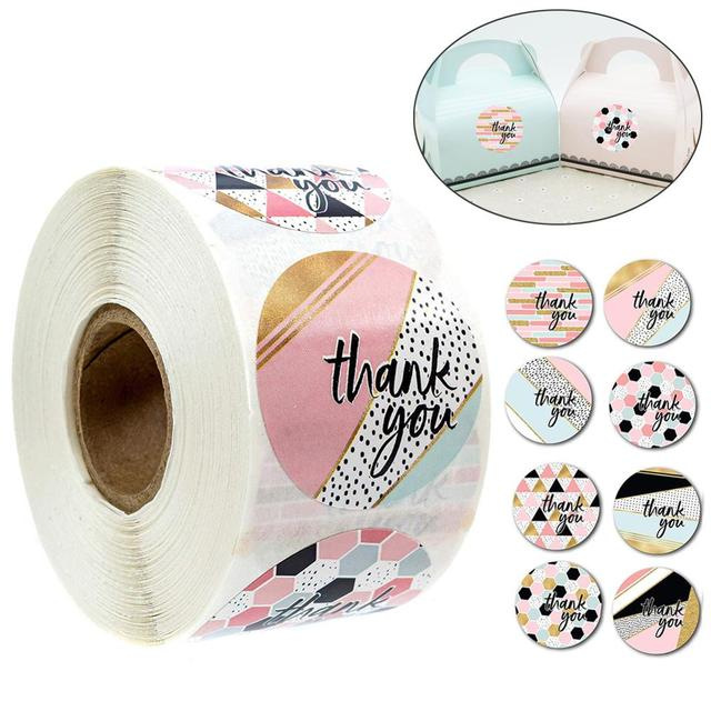 500 PCS Thank You Stickers Per Roll 1 inches Modern Thank You Stickers 8 Different Designs